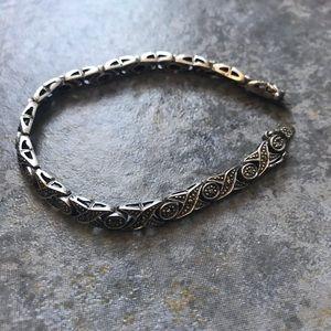 Vintage Genuine Marcasite Sterling Tennis Bracelet